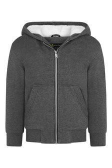 Boys Dark Grey Cotton Zip Up Top
