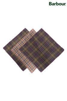 Barbour® Green Tartan Pocket Squares Three Pack
