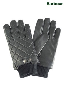 Barbour® Black Quilted Leather Gloves