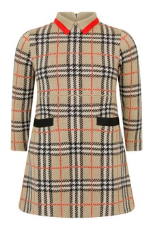 Girls Beige Vintage Check Wool Dress
