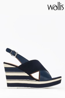 Wallis Spinelli Navy Cross Foot Cover Wedges