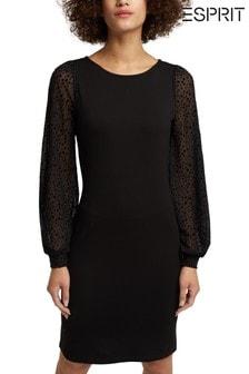 Esprit Womens Black Dress With Sleeve Details