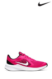 Nike Run Pink/White Velcro Downshifter 10 Youth Trainers