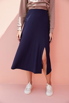 Simply Be Label Be Linen Mix Skirt Blue Size 18,20,26