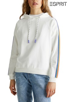 Esprit Natural Hoody With Rainbow Tape On Sleeves