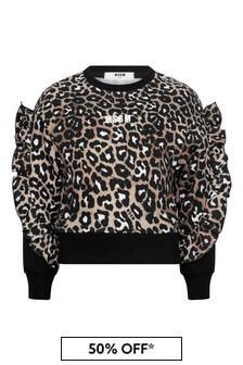 Girls Leopard Print Cotton Logo Cropped Sweatshirt