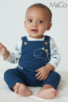 M&Co Blue Dino Dungarees And Bodysuit