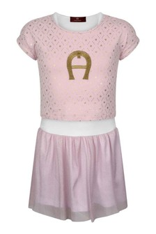 Girls Pink Cotton 2-In-1 Dress