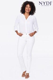 NYDJ Optic White Sheri Slim Jeans With Diamanté Pocket Detail