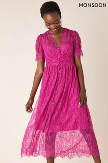 Monsoon Pink Miranda Lace Tea Dress