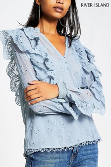 River Island Blue Broderie Special Top