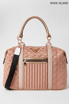 River Island Pink Light Zip Front Quilted Bag