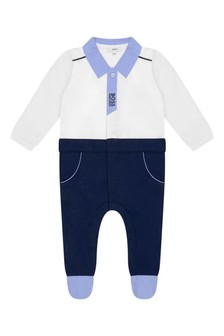 Boys White And Navy Babygrow