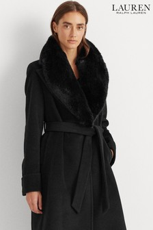 Lauren Ralph Lauren® Faux Fur Trim Wool Wrap Coat