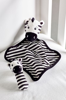Zebra Rattle And Comforter Gift Set