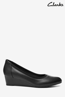 Clarks Black Leather Mallory Berry Shoes