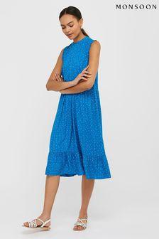 Monsoon Blue Tilda Spot Tiered Midi Dress
