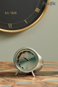 Matt Nickel Cog Design Table Clock by Pacific