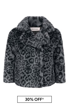 Girls Leopard Print Faux Fur Coat