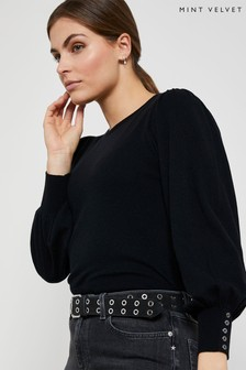 Mint Velvet Black Volume Sleeve Jumper