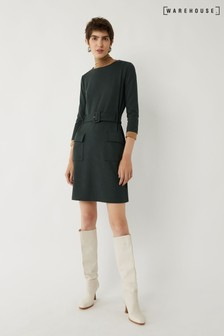 Warehouse Green Utility Ponte Dress