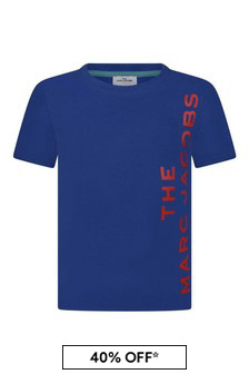 Boys Blue Cotton Logo Print T-Shirt