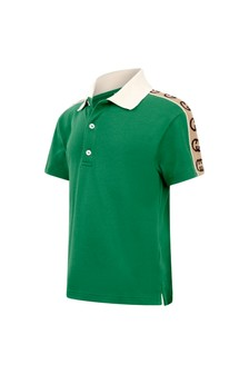 Boys Green Piquet Trim Polo Top