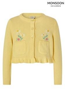 Monsoon Yellow Baby Flori Pocket Cardigan