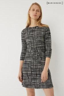 Warehouse Black Brushed Check Belted Dress