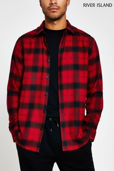 River Island Red Shadow Check Long Sleeve Regular Shirt