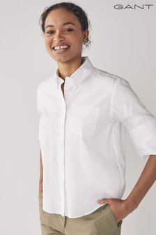 GANT White Pinpoint Oxford Short Sleeve Shirt
