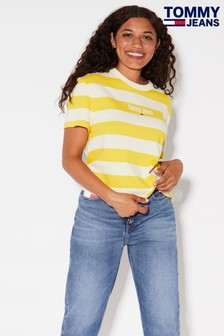 Tommy Jeans Yellow Stripe Logo T-Shirt