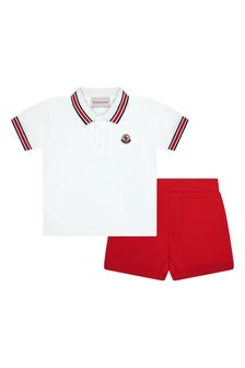 Moncler Enfant Baby White Cotton Polo And Shorts Set