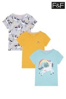 F&F Turquoise Unicorn T-Shirts Three Pack