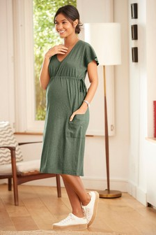 Maternity Pocket Detail Midi Linen Blend Dress