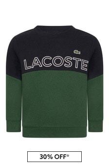 Boys Green And Navy Branded Sweatshirt
