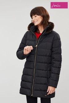 Joules Beaumont Funnel Neck With Faux Fur Padded Coat