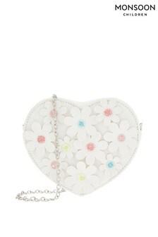 Monsoon White Daisy Chain Heart Bag