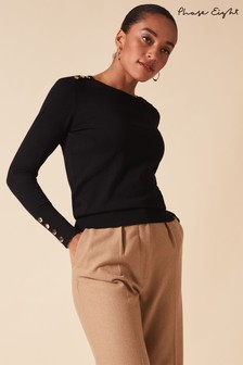 Phase Eight Black Scarlett Fitted Top