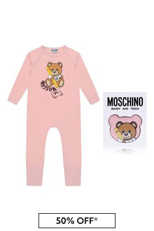 Baby Girls Pink Cotton Teddy Romper