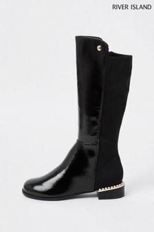 River Island Black Pearl Heel Boots