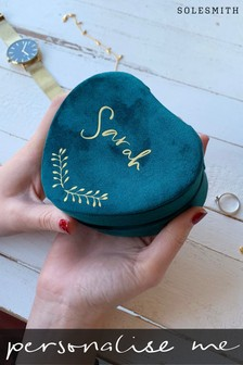 Personalised Velvet Heart Jewellery Box by Solesmith
