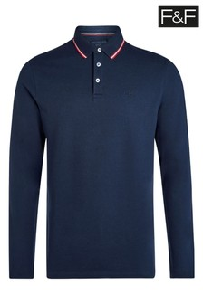 F&F Navy Long Sleeve Tipped Polo