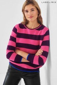 Mix/Jumper1234 Pink Striped Cashmere Cardigan