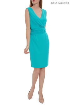 Gina Bacconi Green Drucilla Moss Crepe And Chiffon Dress