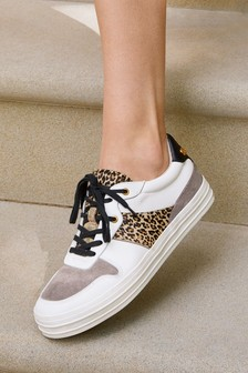 Signature Retro Leather Lace-Up Trainers