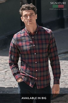 Brushed Flannel Check Long Sleeve Shirt