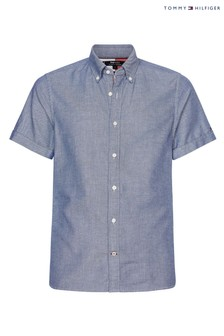 Tommy Hilfiger Blue Slim Cotton Linen Dobby Short Sleeve Shirt