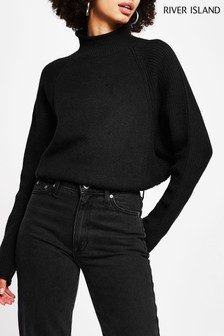 River Island Black Rib Panel Jumper
