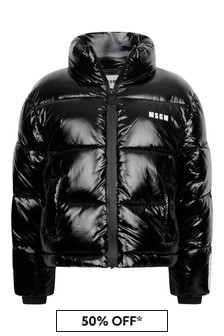 Girls Black Vinyl Padded Jacket